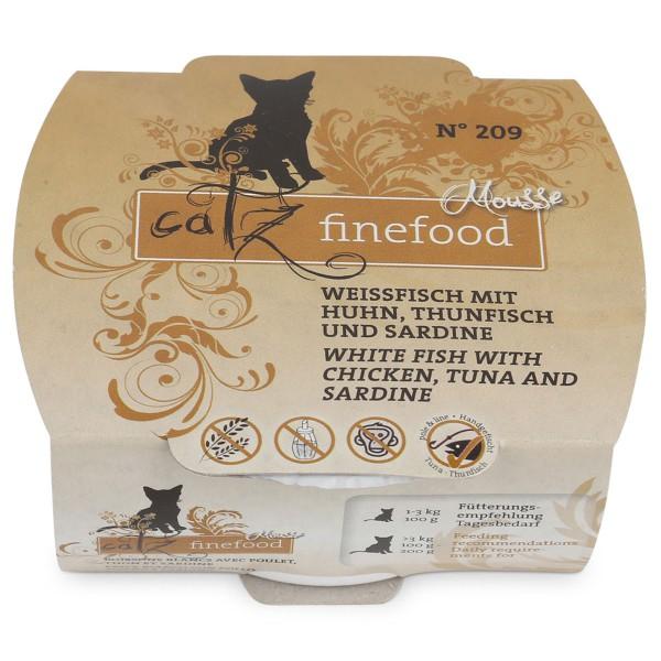 catz finefood mousse n 209 weissfisch mit huhn thunfisch und sardine 100g preisvergleich. Black Bedroom Furniture Sets. Home Design Ideas