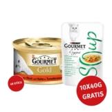 Gourmet Gold Délicatesse en Sauce Rind & Huhn 48x85g + Crystal Soup Huhn und Gemüse 10x40g GRATIS!