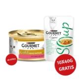 Gourmet Gold Feine Pastete Forelle und Tomaten 48x85g + Crystal Soup Huhn und Gemüse 10x40g GRATIS
