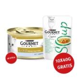 Gourmet Gold Feine Pastete Thunfisch 48x85g + Crystal Soup mit Huhn und Gemüse 10x40g GRATIS!