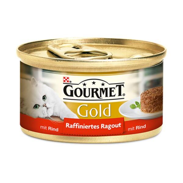 gourmet katzenfutter gold raffiniertes ragout rind 24x85g preisvergleich. Black Bedroom Furniture Sets. Home Design Ideas
