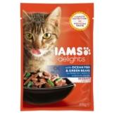 Iams Delights Katzen-Nassfutter in Soße Fisch & grüne Bohnen 24x85g