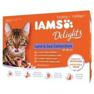 Iams Delights Multipack Land & Sea Collection in Gelee - 12x85g