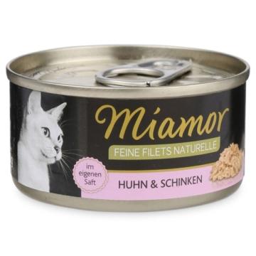 Miamor Katzenfutter Feine Filets Naturelle Huhn und Schinken - 24x80g