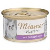 Miamor Nassfutter Katzenzarte Fleischpastete mit Geflügelherzen - 6x85g