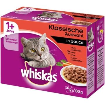 Whiskas Adult 1+ Klassische Auswahl in Sauce - 12x100g