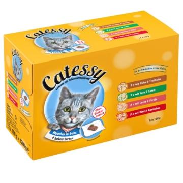 Mixpack Catessy Häppchen in Gelee - 12 x 100 g mit 4 verschiedenen Sorten